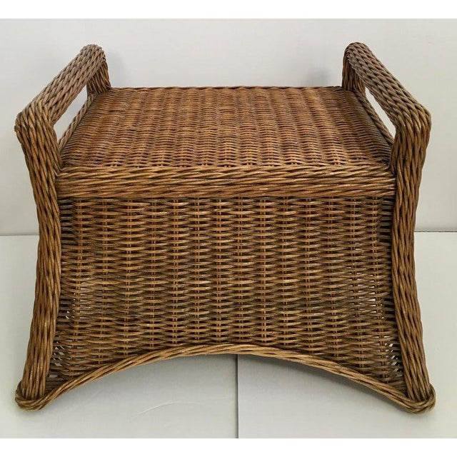 Wicker Sculptural Draped Wicker Bench With Animal Print Cushion For Sale - Image 7 of 9