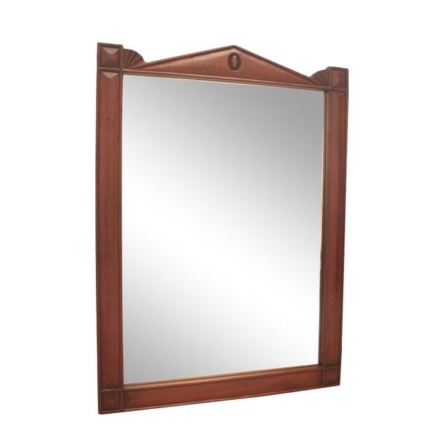 Pediment Detail Beveled Mirror For Sale
