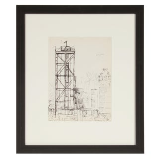 Mid-Century Monochromatic New York Industrial Scene Ink on Paper Drawing For Sale