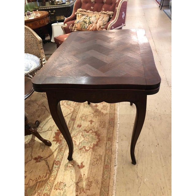 French Country Small Parquetry Walnut Refractory Table For Sale - Image 9 of 11
