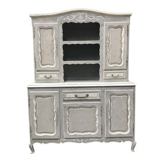 20th Century French Country Oak Painted Sideboard China Hutch For Sale