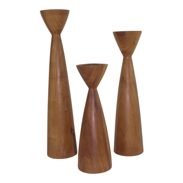 Mid-Century Danish Myrtle Wood Candle Holders - Set of 3 For Sale