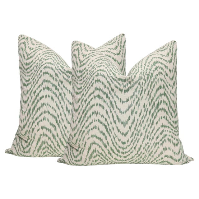 """2010s 22"""" Olive Flamestitch Pillows - a Pair For Sale - Image 5 of 5"""