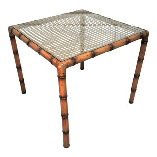 1960s Mid Century Modern Faux Bamboo Maple Wood & Caned Games Table For Sale