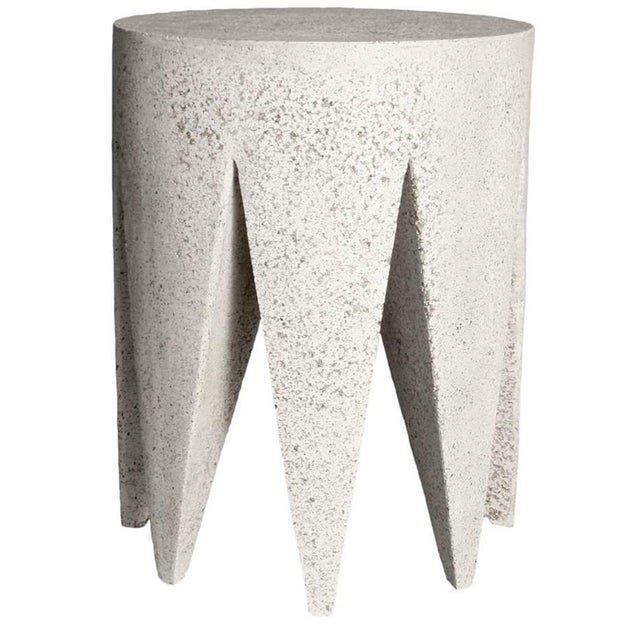 Plastic Cast Resin 'King Me' Side Table, Natural Stone Finish by Zachary A. Design For Sale - Image 7 of 7