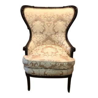 Chippendale Mahogony Wood Carved Wing Chair For Sale