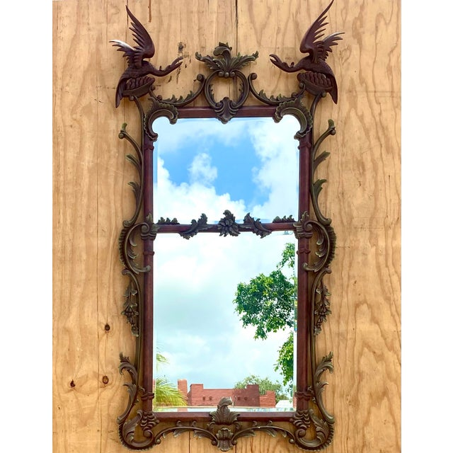 Auburn Vintage Chinoiserie Gesso Over Wood Birds Mirror For Sale - Image 8 of 10