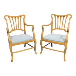 Regency Style Maple Arm Chairs- a Pair For Sale