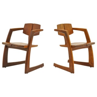 Pair of 1970s Craftsman Solid Walnut Lounge Chairs, Stunning For Sale
