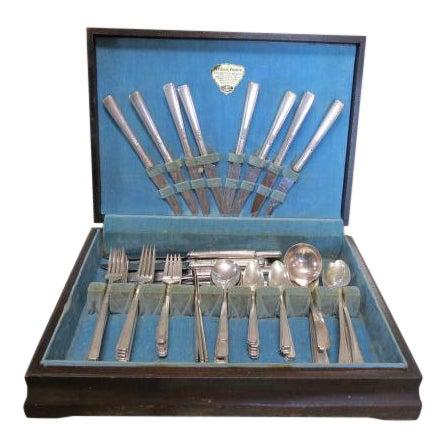 Vintage Art Deco Oneida Triple Silver Plate Flatware Set, C. 1940. - 79 Pieces For Sale