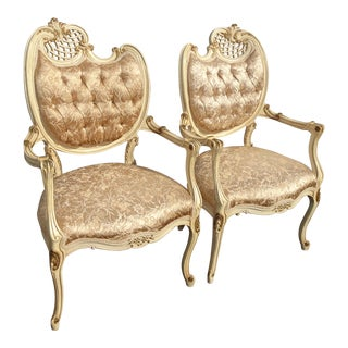 Pair Vintage French Provincial Louis XVI Rococo Off White Heart Tufted Chairs For Sale