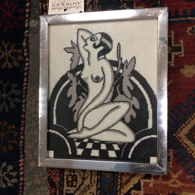 Black & White Art Deco Nude Needlepoint - Image 5 of 7