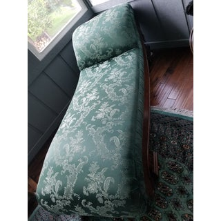 Antique 1880s Green Floral Re Upholstered Chaise Lounge Preview
