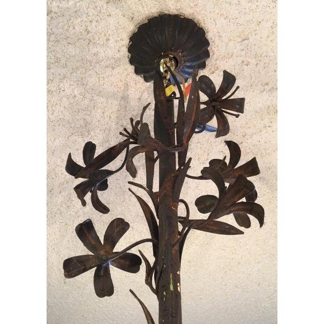 1960s Hollywood Regency Floral Metal Brutalist Chandelier For Sale - Image 4 of 10