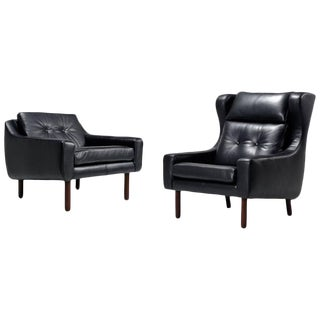 Leather Borge Mogensen Style Chairs - A Pair For Sale