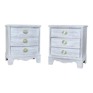 1940s Shabby Chic White Painted Three-Drawer Nightstands - a Pair For Sale