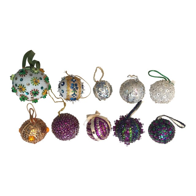Vintage Beaded Hand Made Christmas Ornaments - Set of 10 - Image 1 of 11