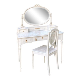 19th Century French Louis XVI Painted Vanity & Chair Set For Sale