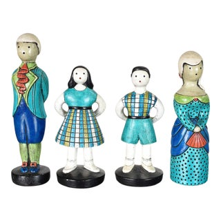 Sylvia Hood Marked Original Vintage Idyllic Family Chalkware Figurines Circa 1960-1965 For Sale