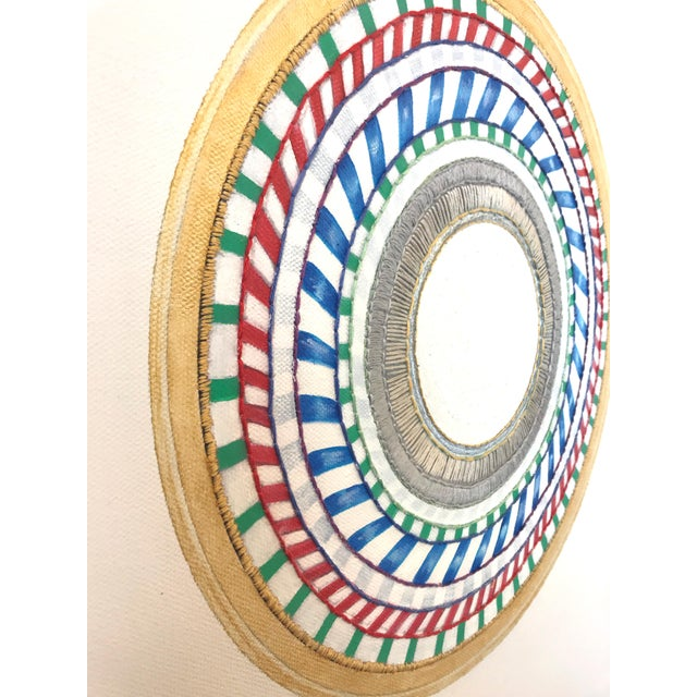 Contemporary Natasha Mistry Embroidered Circular Oil Painting For Sale - Image 3 of 5