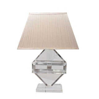 Vintage Lucite Table Lamp, by Michael Oguns with Shade For Sale