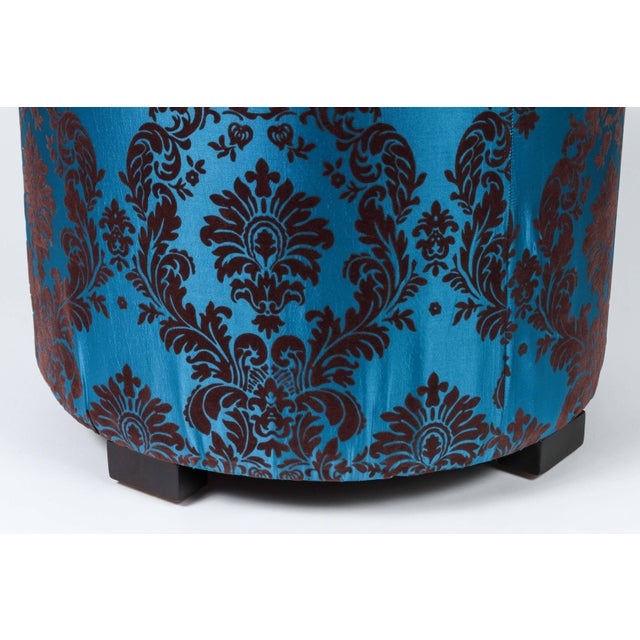 Pair of Blue and Brown Upholstered Stools For Sale - Image 4 of 8