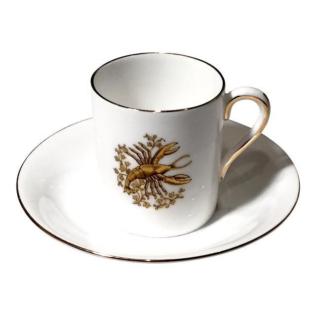 Tuscan English China Gold Lobster Demitasse Cup & Saucer - Image 1 of 6