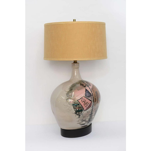 French 1950s Pottery Vase with Painted Parisian Scene Lamp For Sale - Image 3 of 9