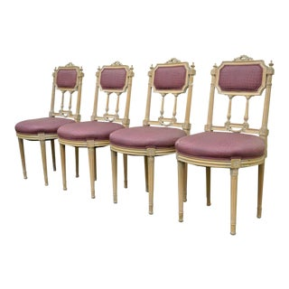 French Louis XVI Directoire Style Drape & Bow Carved Dining Side Chairs - Set of 4