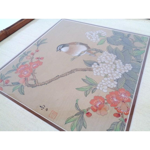 Vintage Regency Japanese Silk Bird & Floral Prints- Set of 3 For Sale In Nashville - Image 6 of 10