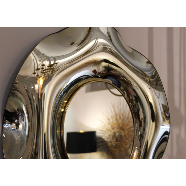 Brass Wave Italian Mirror by Ghiró Studio For Sale - Image 7 of 13