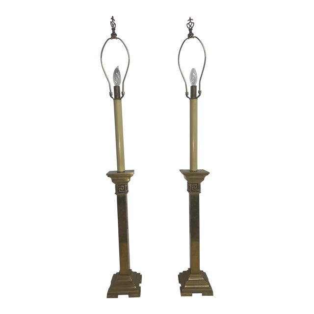Tall Solid Brass Table Lamps - a Pair For Sale