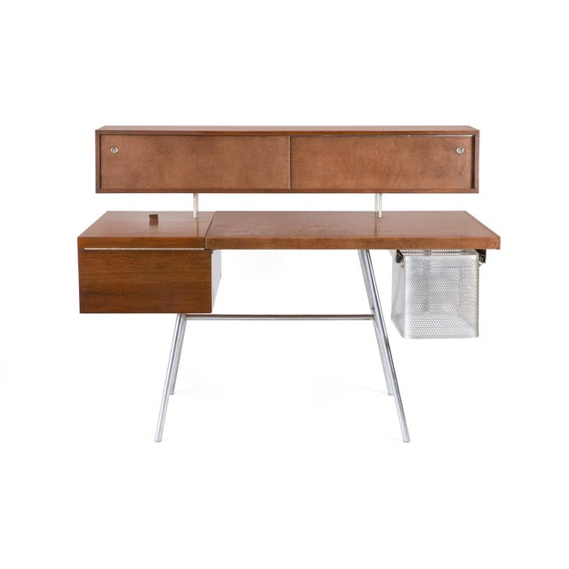Metal George Nelson for Herman Miller Walnut Desk For Sale - Image 7 of 7