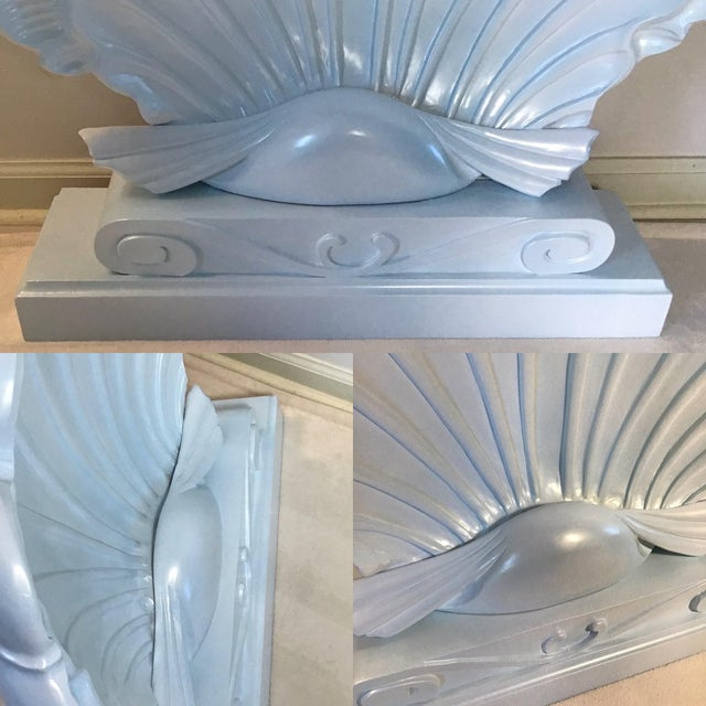 Wood Palm Beach Regency 1950s Edward Wormley Dunbar Style Carved Wood Shell Console Table White Blue Pearl For Sale - Image 7 of 13