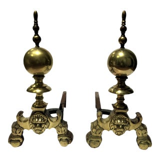 Antique 19th Century Brass Fire Dogs Andirons - a Pair For Sale