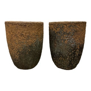 Antique Industrial Smelting Pot Planters - a Pair For Sale