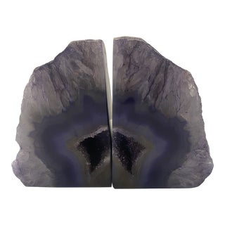 Purple Agate Bookends - a Pair For Sale