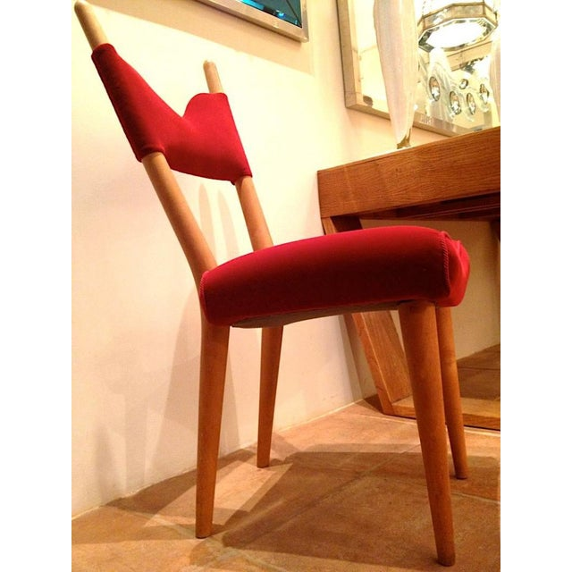 Jean Royere Pair of Documented Chairs Covered in Red Velvet For Sale - Image 6 of 7