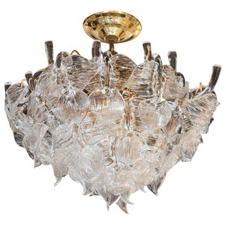 "Mid-Century Modern ""Leaf"" Handblown Glass With Brass Fittings Chandelier by Camer For Sale"