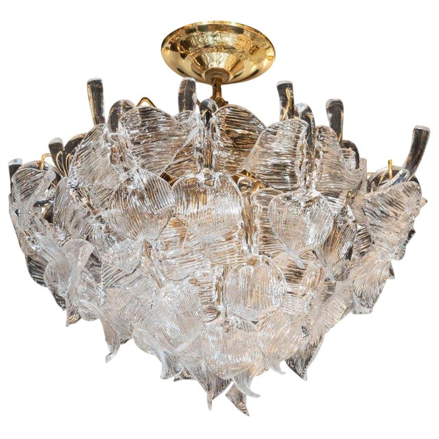 """Mid-Century Modern """"Leaf"""" Handblown Glass With Brass Fittings Chandelier by Camer For Sale"""