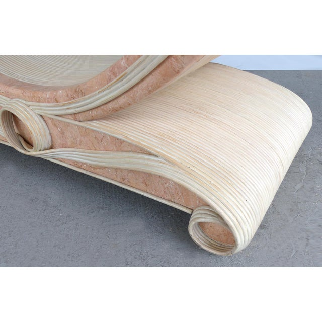 Gabriella Crespi Style Reed and Faux Painted Marble Console Table or Dining Base For Sale - Image 11 of 13