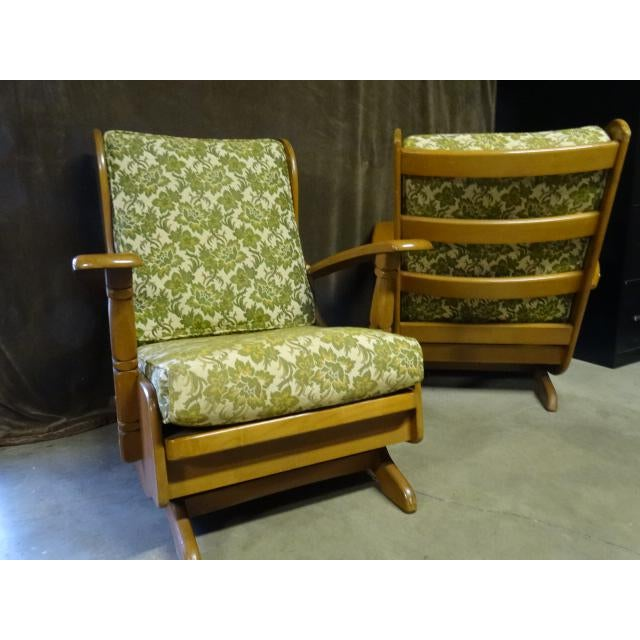 Mid-Century Modern Mid-Century Cushman Style Colonial Platform Rocking Chairs - A Pair For Sale - Image 3 of 8