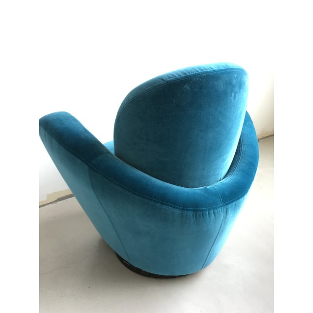 Blue Vladimir Kagan Blue Velvet Wrap Around Swivel Chairs, a Pair For Sale - Image 8 of 8