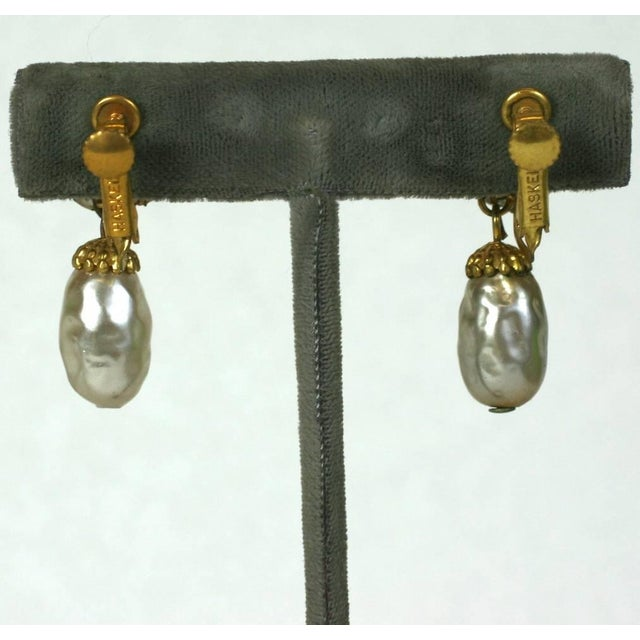 Mid-Century Modern Miriam Haskell Pearl and Gilt Pendant Earclips For Sale - Image 3 of 4
