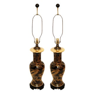 1970s Vintage, Chinoiserie, Hollywood Regency-Style Table Lamps by Paul Hanson - a Pair For Sale