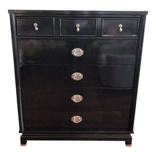 Black Gloss Finished American of Martinsville Highboy Dresser For Sale
