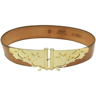 C.1980 Escada Gold Metal & Laminated Leather Belt For Sale