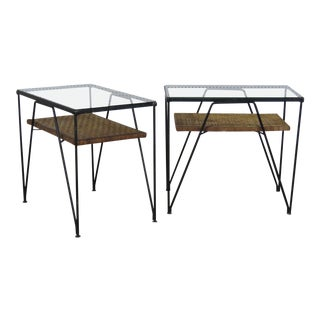 Pair of Mid-Century Modern Glass Top End Tables For Sale