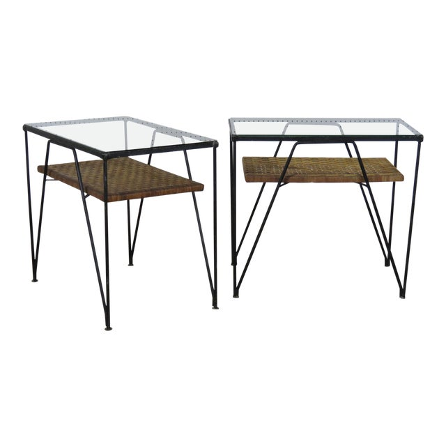 Astonishing Pair Of Mid Century Modern Glass Top End Tables Download Free Architecture Designs Grimeyleaguecom