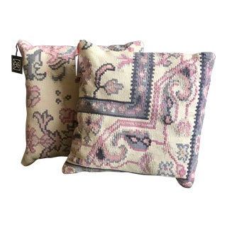 Pink, Ivory and Violet Kilim Throw Pillows - a Pair For Sale
